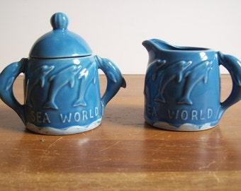 Vintage Blue Dolphin Cream and Sugar Set, Sea World, 1970s