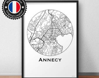 Poster Annecy France Minimalist Map - City Map, Street Map