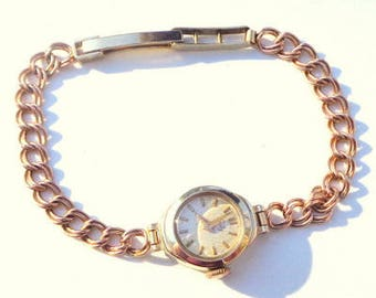 Solid 9k Gold Watch & Solid Gold Band, Lovely Ladies Vintage 9ct Gold ( All Solid Gold ) Verity Bracelet Watch Working Mechanical Movement