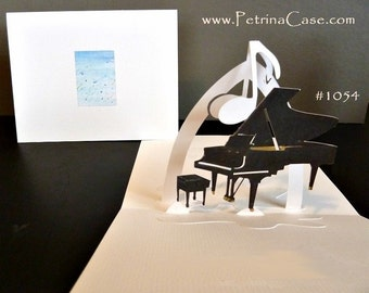 Baby Grand Piano Pop-Up Card 180 degrees  with MUSIC NOTE or HEART