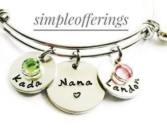 Personalized Nana Bracelet - Hand Stamped Nana Bracelet, Grandma Bracelet, Grandma Gift, Grandma Jewelry, Nana Jewelry, Mothers Day Gift