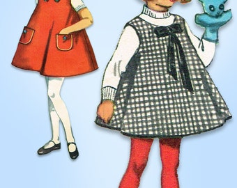 1960s Vintage Simplicity Sewing Pattern 5159 Toddler Girls A Line Dress Size 2