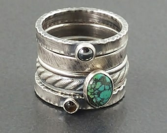 Stacking Rings, size 7 rings, sterling silver, multi stone, boho, bohemian, set of 4, thin ring bands, stackers, stack rings, turquoise ring