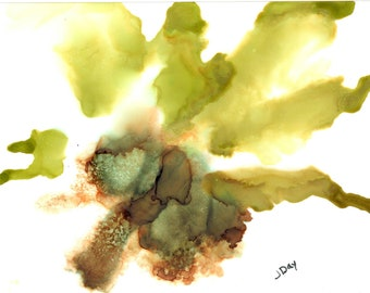 Leaf, green, brown, original, painting, original, only one, free shipping