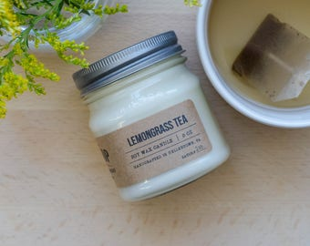 Lemongrass Tea - Mason Jar - Hand Poured Soy Candle - 16 oz Candle - 8 oz Candle - Scent Candle - Gift Ideas