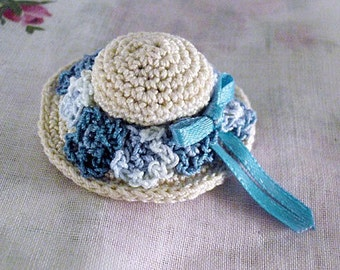 Pin - Miniature Hat - Blue Flowers