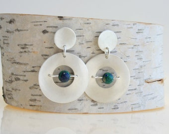 Round Sterling Silver Earrings with Bead
