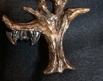 gothic bat tree pendant