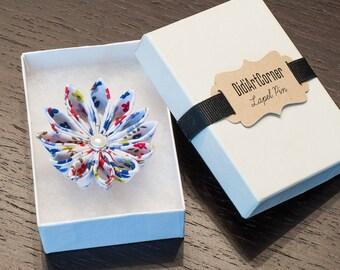 Kanzashi Spring Clematis Flower Lapel Pin