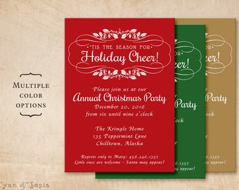 Holiday Party Invitation - Customized Printable 5x7 - Holly Flourish -  Red Green Gold White Christmas Classic Elegant Formal Modern