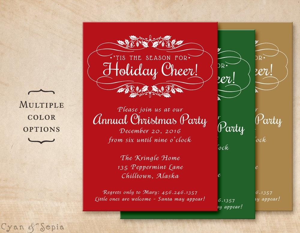 Holiday Party Invitation Customized Printable 5x7 Holly