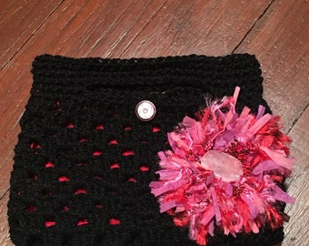 Crocheted Black Clutch Bag with Crocheted Pink Rosette with Rose Quartz