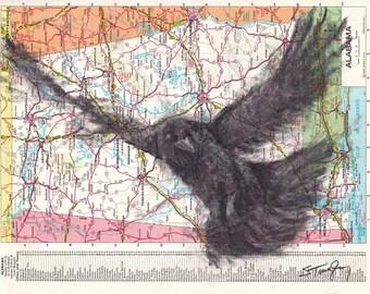 Custom Bird Drawing Crow #1 on Map