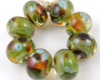 Oryon SRA Lampwork Handmade Artisan Glass Donut/Round Beads Made to Order Set of 8 8x12mm