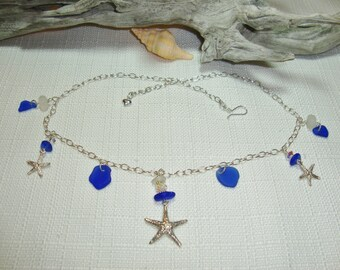 Natural Sea Glass & Sterling Silver Starfish Necklace
