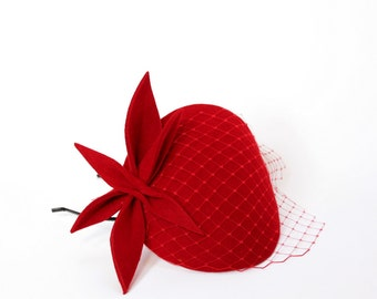 Red Wool Felt  Fascinator, Mini Hat with the Veil