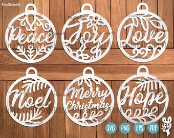 Christmas Baubles SVG Bundle SET 3 | Bauble, Merry Christmas, Hope, Love svg | Noel cut files | Christmas Svg | vinyl decal Winter | Cricut