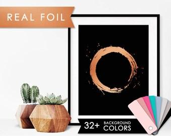 Paint Circle in Real Copper Foil Art Print- 11x14, 8x10, 5x7