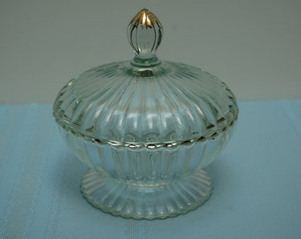 Vintage Candy Bowl,  Covered Bowl, Candy Bowl with Lid, Ribbed Dish, Gold Accent, Jeannette Glass, Footed Candy Dish