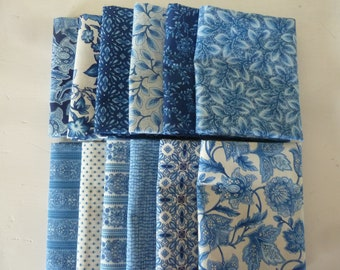 Country Manor Blue Colorstory Fat Quarter Bundle by Darlene Zimmerman for Robert Kaufman. 12 fat quarters from Darlene's fabric store.