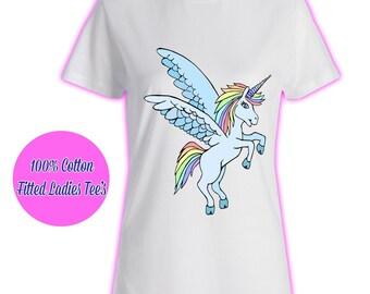 Womans Ladies Girls Tumblr Unicorn Rainbow Pink Glitter Princess Celeb Pug Kids 8 T Shirt
