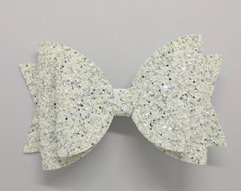 "RTS White Multi Glitter Hair Bow-Alligator Clip-Photo Prop-Chunky Glitter-Toddler Hair Accessory-4.5"" hair bow"