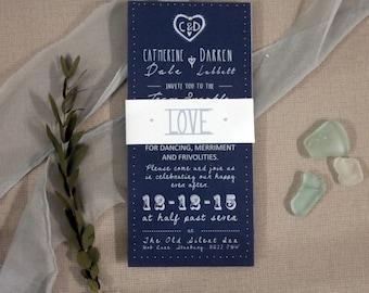 Blue wedding invitations, midnight blue wedding invitations, nordic wedding invites, blue wedding stationery, wedding stationery, scandi