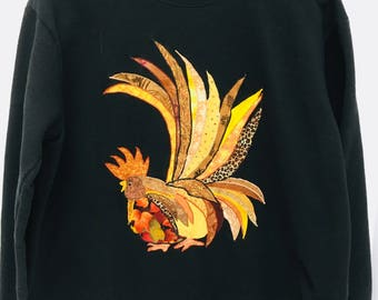 RHODE ISLAND RED Rooster Appliquéd Black Sweatshirt by Hanes (Size L/G)