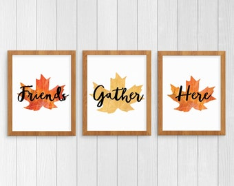 Gather Thanksgiving Print, Instant Download Thanksgiving Wall Art Printable Set, Fall Leaves, Autumn Deccor Instant Download Art,