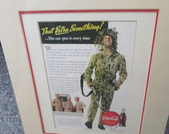 "On the Front Lines with Coca Cola""  That Extra Something 1943 Ad - Matted and ready to frame"
