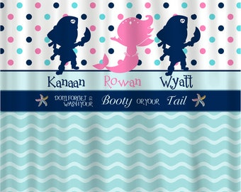 Pirate & Mermaid Shared Shower Curtain -NEW Double Line -Hot Pink, Navy, Sea Blue and White Combination - Novelty Saying -Option #5
