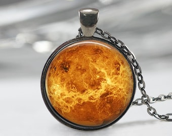 Venus  Planet Glass Pendant, Galaxy Necklace, Solar System Pendant, Venus Charm, Venus Planet Necklace,Venus Jewelry