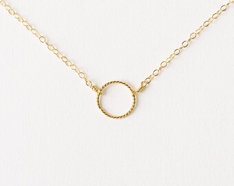 Eclipse - tiny gold circle necklace - delicate gold necklace - suspended circle necklace - gold karma circle necklace - mum gift