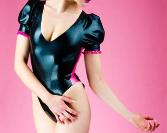 Sample Sale LATEX- Black body/leotard with pink trim and puffy sleeves UK size 8-10 high leg
