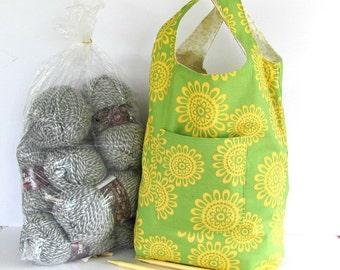 Knitting project bag, Grocery bag, Shopping Bag, Large Knitting Tote Bag - Lime, Yellow Project Bag