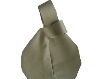 Leather Wristlet Purse Clutch Round Bag Light Olive Green Baby Buddha