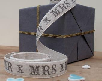 Mr & Mrs Linen wedding ribbon