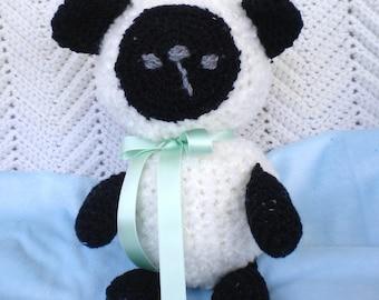 Crochet Baby Easter Lamb White w Green Ribbon