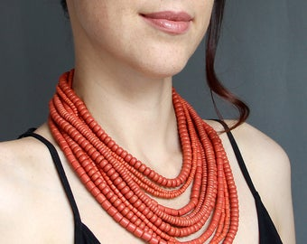 Ceramic beads with brass fastener - Ethnic jewelry from Ukraine - Multi strand ethnic necklace - Ukrainian necklace - Statement necklace