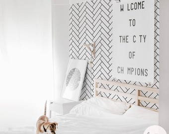 Removable herringbone wallpaper for bedroom, available as temporary self adhesive or traditional non woven material