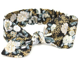 Baby girl headband, topknot baby, baby turban, baby bows, cotton knotted headband, toddler headband, baby headband, black and gold floral