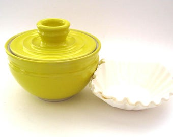 Coffee Filter Storage Jar - Knock Your Hat In The Creek Yellow glaze