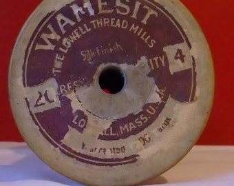 Antique Vintage wooden Bobbin Spool with Wamesit thread label from The Lowell Thread Mills Lowell, Ma Antique Vintage 1930's to 1940's
