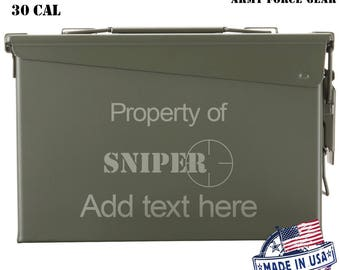 Sniper, Scope  Custom Engraved 30 / 50 Cal Ammo Can Personalized Dad Gift, Cool Guy Gifts Father's Day Gift, Grandpa Gift,Groomsmen