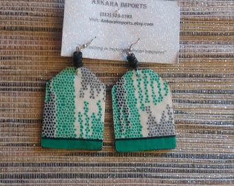 Ankara Wooden Earrings- Aqua Multi