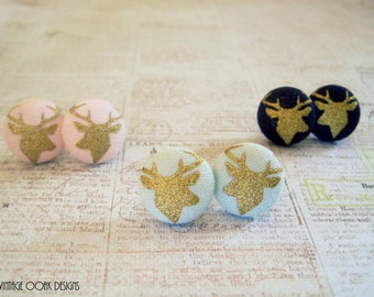 Gold Deer Earrings, Stag Earrings, Reindeer Studs,Deer Jewelry,Woodland Jewelry,Woodland Earrings,Button Earrings,Deer Jewelry,Winter trends