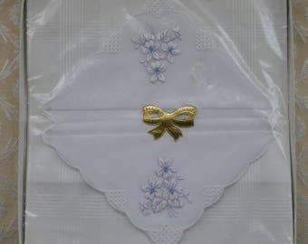 Swiss Made Hankies, Vintage Lace Hankies, Embroidered Hanky, Ladies Hankies, White Handkerchiefs, Three Boxed Hankies, Bridal Accessories