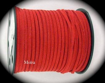 diameter 3 cherry red flat suede cord 2 meters x 1, 5 m