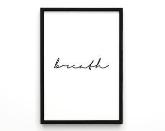 Breath, Poster, Typographic Art, Typographic Poster, Scandinavian Design Poster