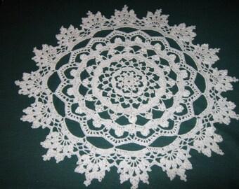 "Crochet Cotton Doily, Sandcastles design doily, 17"" wide"